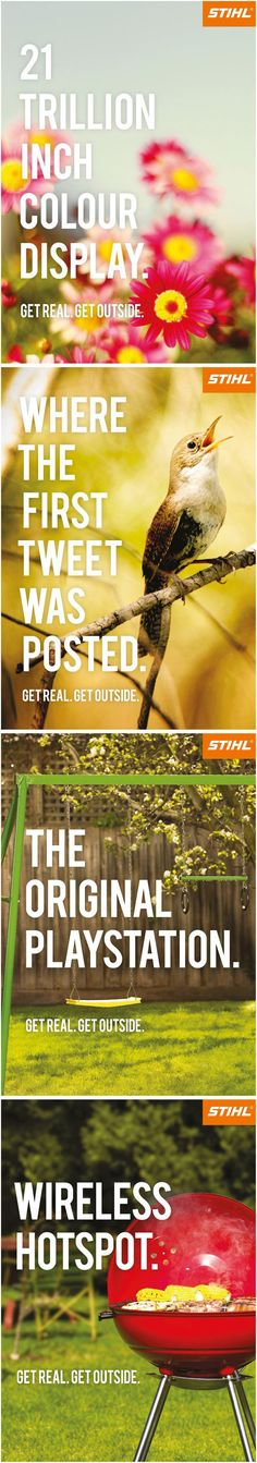 Love this ad campaign from Stihl so much that I want these for my wall.