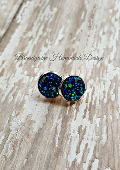 Druzy Earrings, 12 mm Druzy, Druzy Studs, Ocean Blue Green Druzy Earrings, Natural Color Druzy Earrings, Affordable Jewelry, Earth Jewelry by BrandywineHD on Etsy