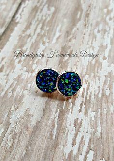 Druzy Earrings, 12 mm Druzy, Druzy Studs, Ocean Blue Green Druzy Earrings, Natural Color Druzy Earrings, Affordable Jewelry, Earth Jewelry by BrandywineHD on Etsy