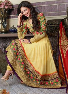 Stunning Yellow Ankle Length Anarkali Suit