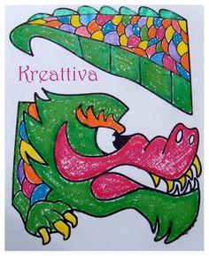 drago cinese colorato pronto per essere ritagliato