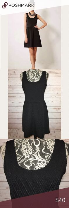 """HD in Paris Black Starry Night Shimmer Dress Sz L Excellent pre-owned condition. Stretch fit-Flare dress. Has a zippered back. Size Large. Made of 90% Polyester 5% Metallic and 5% Spandex.   Measures  19"""" armpit to armpit  36"""" long Anthropologie Dresses Mini"""
