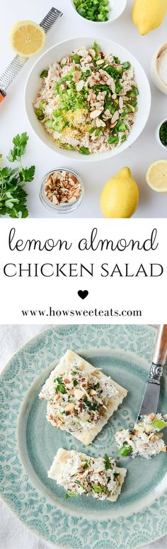 lemon almond roast chicken salad by @howsweeteats I howsweeteats.com