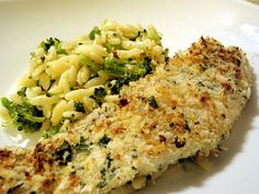 LEMON PARMESAN TILAPIA W/BROCCOLI ORZO: Tilapia fillets are low in fat, low calorie, low carbohydrate and are high in protein. Plus it's pretty cheap. Two pieces of tilapia were less than four dollars. The orzo probably 2 dollars.