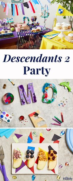 To celebrate the premiere of Descendants 2, the sequel to the Disney Channel Original Movie Descendants, spoil your kids, rotten. Create a Descendants 2 viewing party with all the wicked charm. Click for Disney party inspiration — from apple recipes and printable cupcake toppers to a DIY Isle of the Lost garland. Disney Channel Original, Original Movie, Birthday Parties, 9th Birthday, Birthday Ideas, Isle Of The Lost, Disney Channel Descendants, Disney Decendants, Alice In Wonderland Party