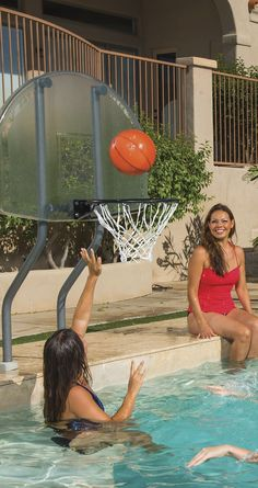 Our On Deck Basketball Set is a slam-dunk when it comes to hours of fun in the sun, whether a game of one-on-one or just shooting around solo. Convenient On Deck feature allows you to install the system into an existing concrete pool deck.