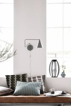 Stunning black Game wall lamp from Danish brand House Doctor. Combine this lamp with your Nordic furniture! House Doctor, White Wall Lights, New York Black And White, Black White, Black Metal, Grey Houses, Bathroom Wall Lights, Living Room Inspiration, White Walls