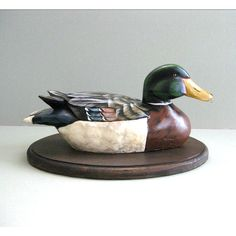 Hand Carved Wood Duck Art Collectible Duck Sculpture Mallard Duck... ($185) ❤ liked on Polyvore featuring home and home decor