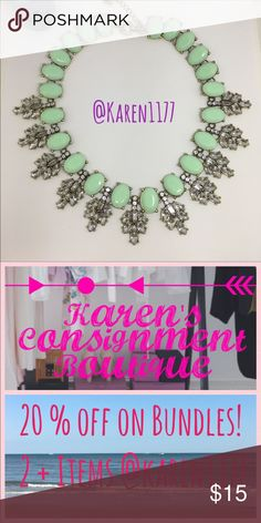 "Just In🍃Must Have Green Statement Necklace🍃 New Beautiful Gold tone necklace with Faux (resin) Green/Mint Gem. This pink it's a nude lovely color, goes with everything. 📌About 17""-20"" L w extension. karen1177 Jewelry Necklaces"