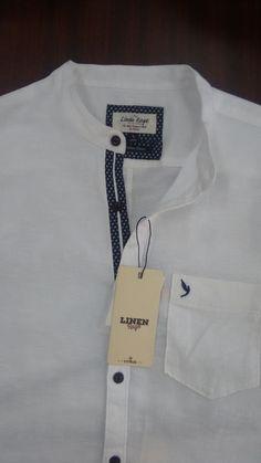 Men's shirt detailing.casual.Linen