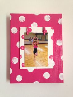 Hot Pink and White Polka Dots Block Wood 4 by GrapevineDesignShop