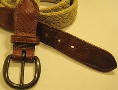 Ritz Men Belt Braided 34 Inches Long Tan Leather Trim Solid Brass Buckle. #Ritz #Braided