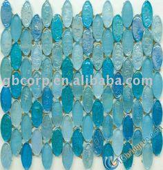 Glass tile backsplash, I need this somewhere.