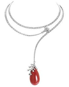 "FRED | 70th Anniversary ""Corail"" necklace in diamonds, coral drop and white gold"