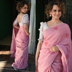 K angana Ranaut in pink linen heart print saree by Galang Gabaan at Rangoon Movie Promotion