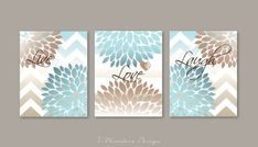 Gorgeous contemporary Trio of Floral Botanical Bursts with Chevrons and Stripes backdrops. With elegant words: Live, Love, Laugh peppered across