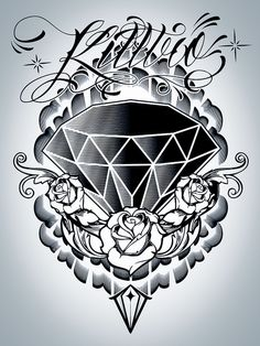 Grey Roses And Diamond Tattoo Design : Diamond Tattoos Diamond Tattoo Designs, Diamond Tattoos, Rose Tattoos, Body Art Tattoos, Hand Tattoos, Sleeve Tattoos, Tatoos, Kunst Tattoos, Chicano Tattoos