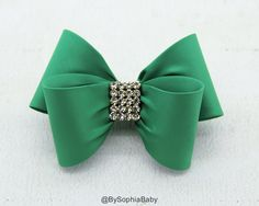 Green Bow, Green Bow Hair Clip, Bow Hair Clip, Toddler Green Hair Clip, Girls…