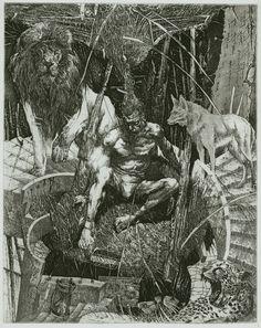 Alexander Steshenko: Three Beasts. 1995, etching, aquatint, 'Dante Comedy Hell' series, Plate 1, 19 by 25 cm.