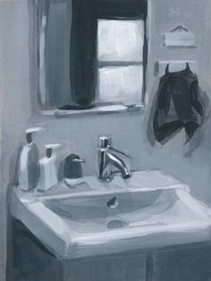 """Painted Stories - Paintings of memories by Michelle Darwin - Portfolio """"Mirrored light by the bathroom vanity"""". B&W study. Gouache on paper. Painted Stories by Michel Sink Drawing, Bathroom Drawing, Bathroom Artwork, Modern Bathroom, Mirror Painting, Gouache Painting, Light Painting, White Gouache, Still Life Drawing"""