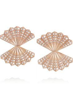 Anita Ko Fan 18-karat rose gold diamond earrings NET-A-PORTER.COM