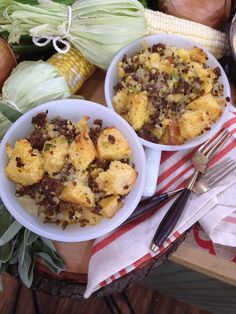 Cornbread & Sausage Stuffing from Master Chef Juniors Sam, Sean & Natalie! Tune in weekdays at 10/9c on Hallmark Channel! #homeandfamily