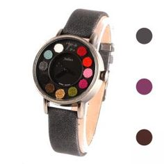 Damenuhr Armbanduhr mit Lederband schwarz lila braun