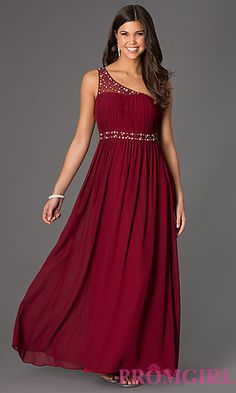 One Shoulder Floor Length Dress at PromGirl.com... Love the black AND red!