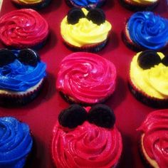Mickey Mouse Cloubhouse Cupcakes with mini Oreo's as mouse ears. Made these for my son's first birthday and they were a hit!