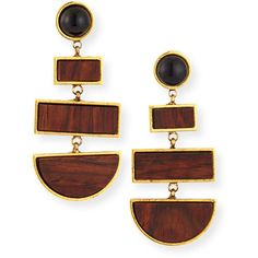 Lizzie Fortunato Totem Geometric Rosewood Drop Earrings ($310) ❤ liked on Polyvore featuring jewelry, earrings, gold, 18k earrings, yellow earrings, yellow jewelry, yellow drop earrings and cabochon earrings