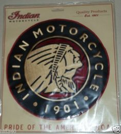 "Indian Motorcycle round Patch Pride of the American road Large 10"" diameter MIP"