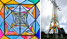Back in 2010, a trio of art students from Klasse Löbbert in Germany took it upon themselves to transform a boring electrical tower into a translucent, stained glass installation. Titled Leuchtturm (Lighthouse) the urban artwork in Hattingen, Germany was conceived by Ail Hwang, Hae-Ryan Jeong and