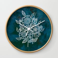 Blue flowers Wall Clock by seelas Wall Clocks, Flower Wall, Blue Flowers, Handicraft, Natural Wood, Good Times, Cool Designs, Decorative Plates, About Me Blog