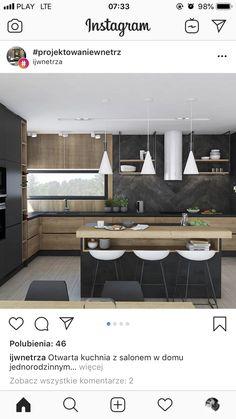 Cuisine bois/noir Cuisine bois/noir - Rebel Without Applause Kitchen Room Design, Modern Kitchen Design, Home Decor Kitchen, Interior Design Living Room, Home Kitchens, Design Interior, Black Kitchens, Luxury Kitchens, Küchen Design