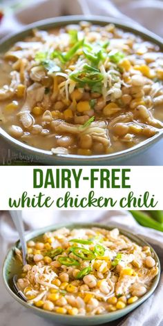 This Dairy-Free White Chicken Chili is perfect for a cold winter day! Its creamy and packed with white beans and veggies with no milk cream or cheese! No Dairy Recipes, Chili Recipes, Soup Recipes, Chicken Recipes No Dairy, Crockpot Recipes, Healthy Chicken Dinner, Chicken Breast Recipes Healthy, Healthy Dinner Recipes, Vegetarian Recipes