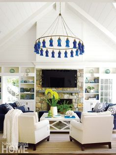The family room holds all the accoutrements necessary for relaxing, including an…