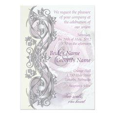 Elegant Scroll Wedding Invitation - Lavender - 1E