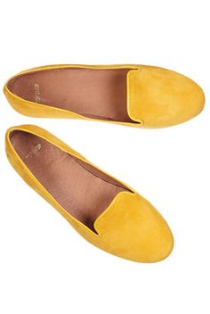 kosy mustard suede slipper loafers / #topshop