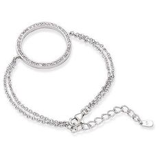 Sterling Silver 6 + 1.5 Inch Extension Rhodium Plated Double Chain with CZ Circle Bracelet. Love love love! Would be a great special occasion MedicAlert bracet, super gorgeous