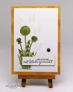 Grusskarte mit Pusteblumen – mit Produkten von Stampin' Up! Stampin Up, Place Card Holders, Community, Frame, Projects, Home Decor, Paper, Kawaii, Flowers
