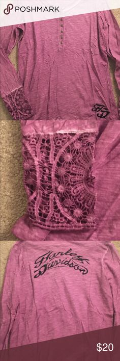 Ladies Harley Davidson Boho Henley Top Ladies Harley-Davidson Boho Top, Crochet/laced wrist area, purple, with black lettering New condition only worn once. Harley-Davidson Tops
