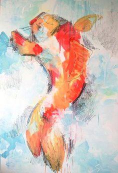 Clara Simond | Pez Koi - Técnica mixta / Koi Fish - Oil Painting