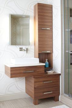 Armoires de salle de bains modernes en noyer horizontal | Québec