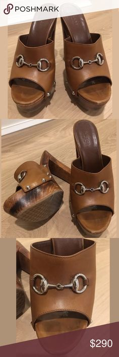"""GUCCI Horse bit caramel leather clogs Super stylish GUCCI horse bit platform wood clogs!  Pre owned, worn but a few times. without Original box. Lovely addition to any shoe collector or lover.   easy casual or formal wear! Definite party heel. 4"""" size: 8.5 Gucci Shoes Mules & Clogs"""