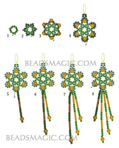 FREE Pattern for MARCELA Earrings. Page 2/2. From BeadsMagic. Use: seed beads 11/0, bugle beads, faceted round beads 4mm.