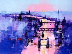 ARTFINDER: RIVER THAMES SUNSET by Colin Ruffell - This acrylograph is an enhanced and overpainted print on canvas. Acrylographs are where the canvas giclee print is overpainted in acrylic paint with extra hi...