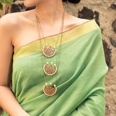 Designer Contemporary 3 Layered Chain With 3 Motif Pendants Long Neck Piece Thread Jewellery, Gold Jewellery, Face Jewellery, Layered Jewelry, Oxidised Jewellery, India Jewelry, Neck Piece, Festival Wear, Silver Jewelry