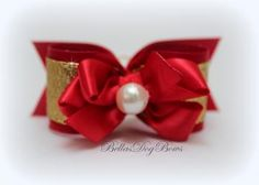 Red Satin Bow with Gold Metallic Overlay. Free-Style Red Bow with Large White Pearl Embellishes.
