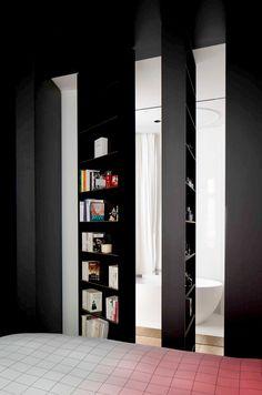 Illusion carpet and hidden bookshelves