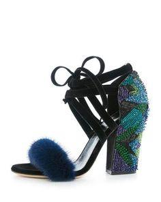 S0G0P Sergio Rossi Beaded Fur-Strap Lace-Up Sandal, Indigo/Multi